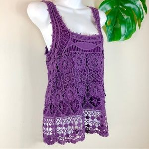 Pins and Needles | Purple Crochet Tank
